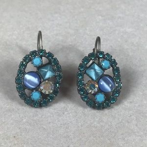 Vintage Rhinestone Earrings Blue Pierced